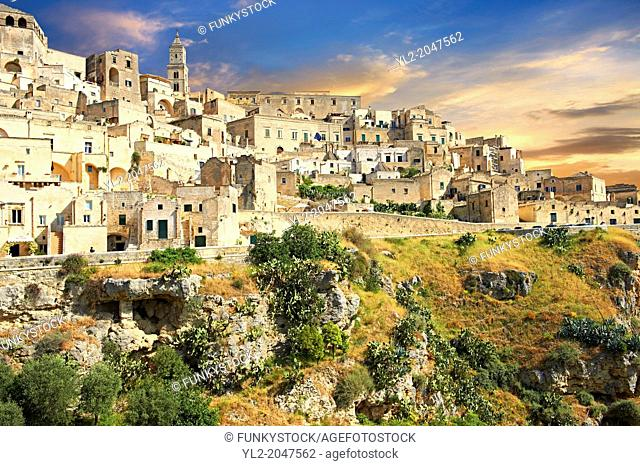 The ancient troglodyte cave dwellings, known as Sassi , in Matera, Southern Italy. A UNESCO World Heritage Site