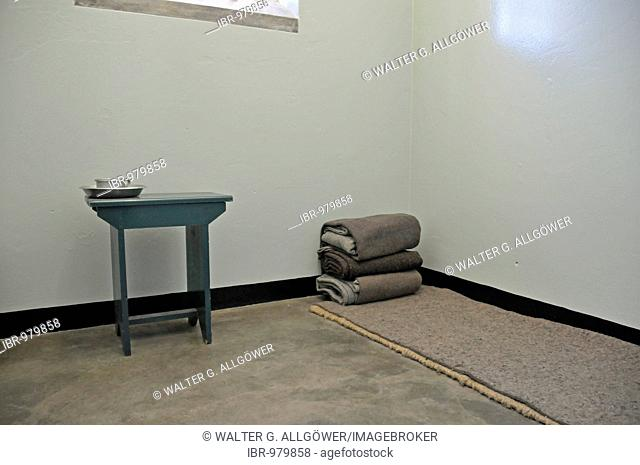 Nelson Mandela prison cell during his imprisonment on the former prison island, Robben Island, Cape Town, Cape Town, South Africa, Africa