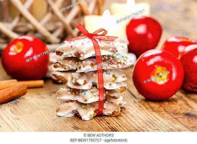 Christmas gingerbread cookies. Selective focus