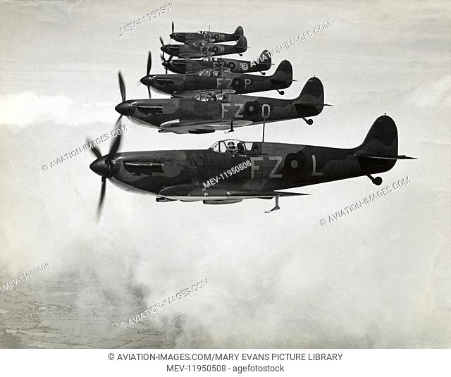 A Formation of Six RAF Supermarine Spitfire Mark1 Fighter before the Battle-Of-Britain