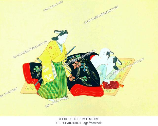 Japan: Shunga painting from 'The album of Sodomy Love' by Furuyama Moroshige (c. 1695)