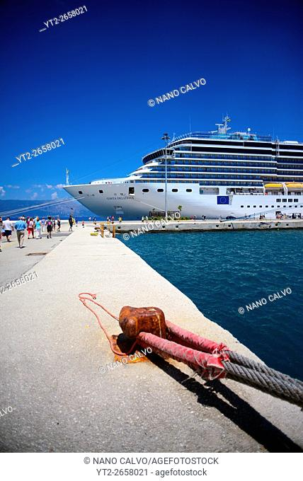Luxurious cruise ships in Corfu, Greece