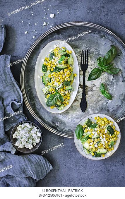Courgette and sweetcorn salad with basil