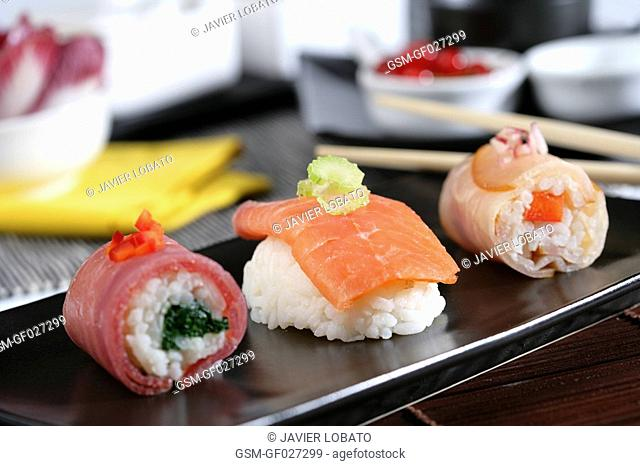 Assorted smoked fishes sushi