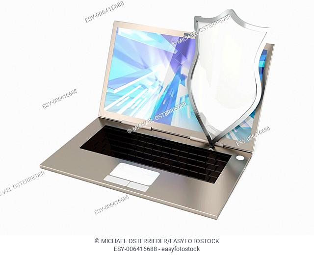 A protected laptop. Isolated on white. 3D rendered illustration