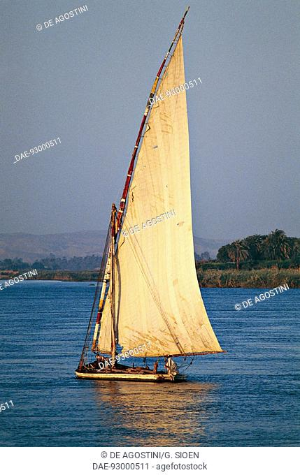 Felucca for transporting goods on the Nile river, Egypt