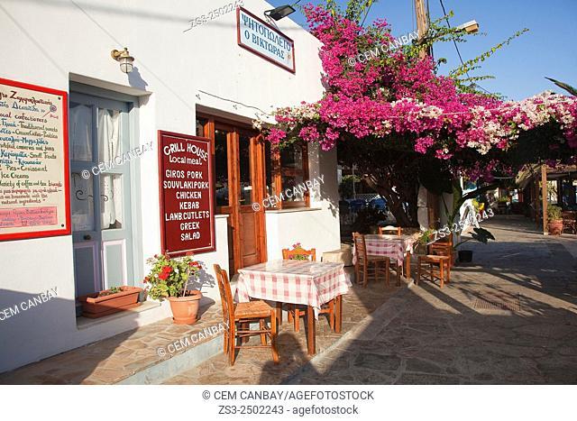 Restaurant near the port in Katapola, Amorgos, Cyclades Islands, Greek Islands, Greece, Europe