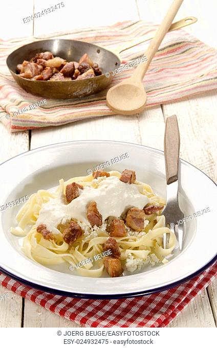 hungarian style pasta with sour cream, cottage cheese and bacon