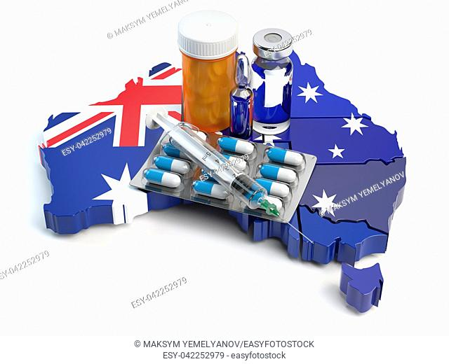 Health, healthcare, medicine and pharmacy in Australia concept. Pills, vials and syringe on the map of Australia isolated on white background