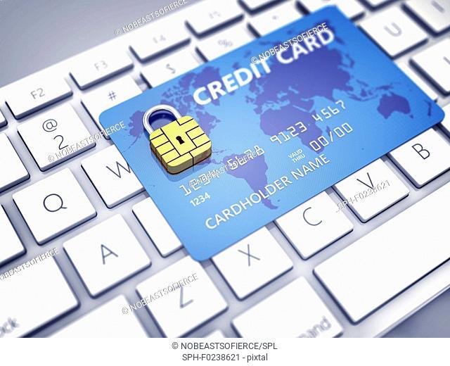 Safe online shopping, conceptual illustration
