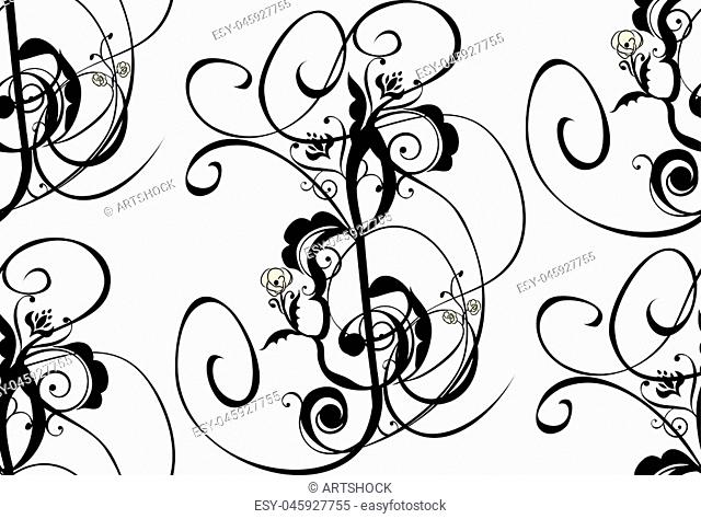 Abstract musical background with music notes and floral