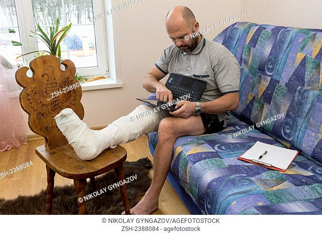 A man with a foot injury