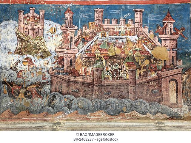 Exterior fresco, Siege of Jerusalem, Moldovita Monastery, Manastirea Moldovita, Churches of Moldavia, UNESCO World Heritage Site, Romania, Europe