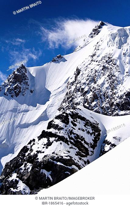 Mt Ortler north face and summit, descent from Mt Ortler near Sulden, Solda, Ortler massif, South Tyrol, Italy, Europe