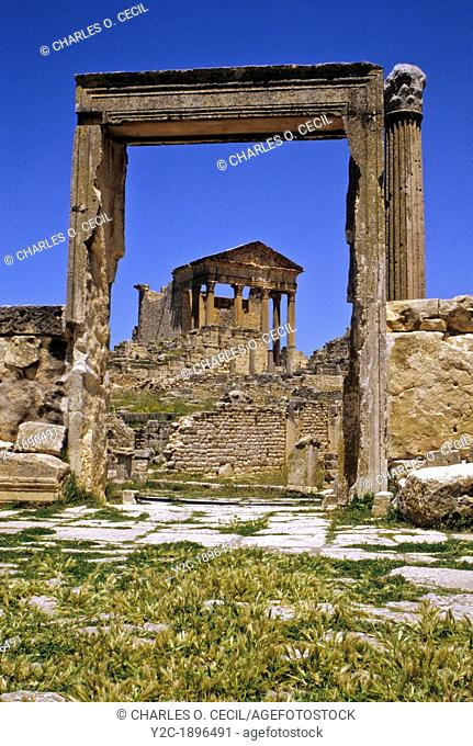 Tunisia, Dougga  Roman Ruins  The Capitol, seen through the door of the 'Unnamed Temple '