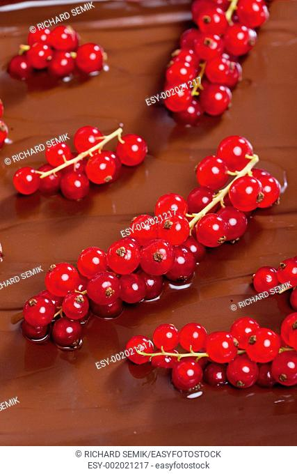 chocolate fondue with red currant