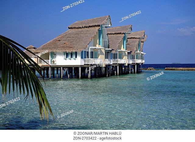 Wasserbungalows der Malediveninsel Ellaidhoo, Ari-Atoll, Malediven, Indischer Ozean, Waterbungalows of the Island Ellaidhoo, Ari-Atoll, Maldives, Indian Ocean