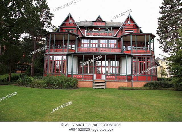 facade of historic Villa at Seaside Resort Heringsdorf, Isle of Usedom, Western Pomerania, Germany, Europe