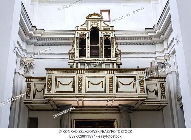 Pipe organ in Church of Saint Philip Apostle (Chiesa di san Filippo Apostolo) on Ortygia island, historical part of Syracuse, Sicily Island, Italy