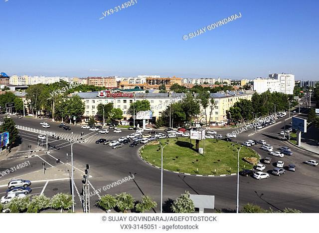 Tashkent, Uzbekistan - May 12, 2017: Wide cityscape of Tashkent city, modern buildings, traffic and streets