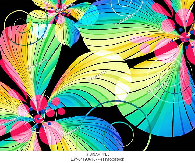 Abstract multicolored flowers on black background