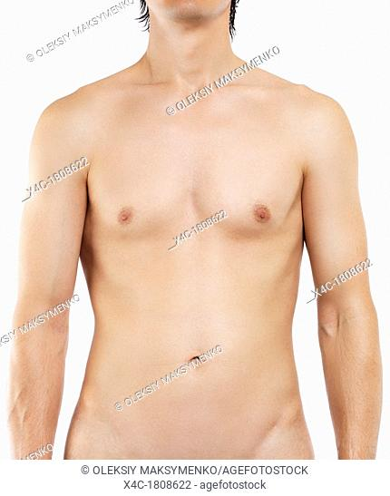 Closeup of a young man bare torso with smooth hairfree skin isolated on white background