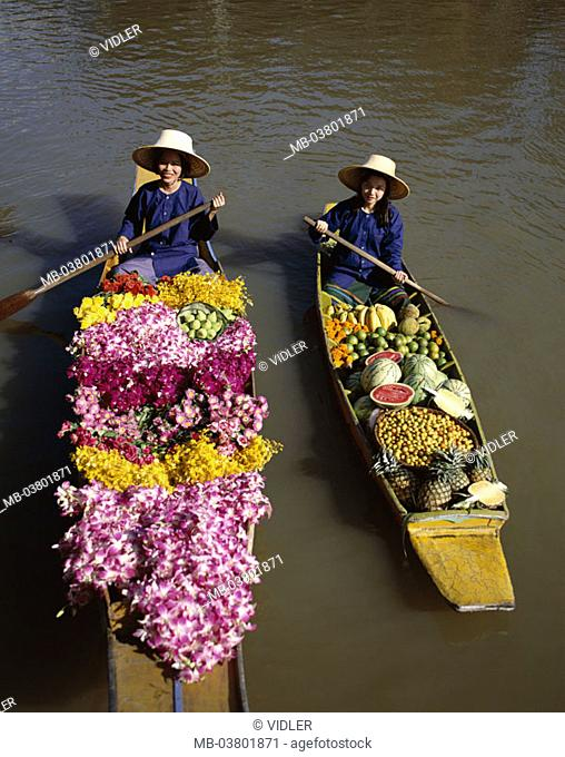 Thailand, Bangkok, Damnoen Saduak,  Swimming market, dealers,  Series, Asia, southeast Asia, waters, women, market women, natives, straw hats, rowboats, boats