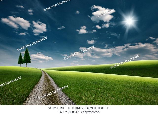 Road through the green hills, abstract seasonal backgrounds