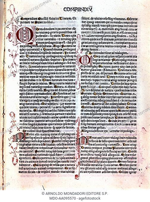 Plato's Timaeus, Greece philosophical dialogues (Timeo di Platone, Grecia dialoghi filosofici), translation by Marsilio Ficino, 1484, 15th Century