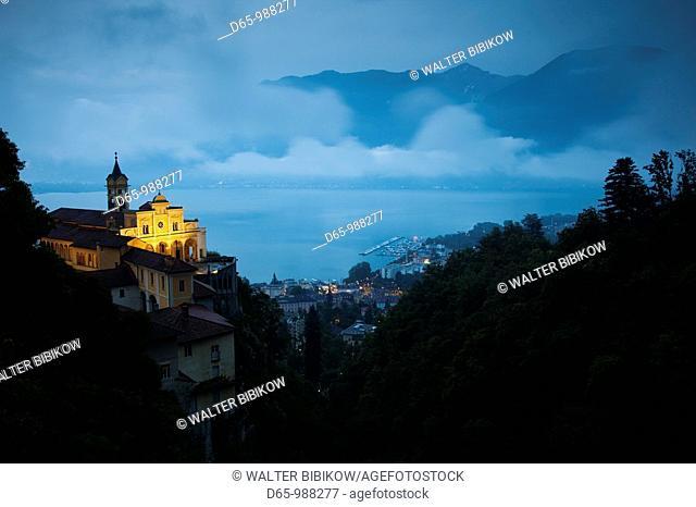 Switzerland, Ticino, Lake Maggiore, Locarno, Madonna del Sasso church, evening