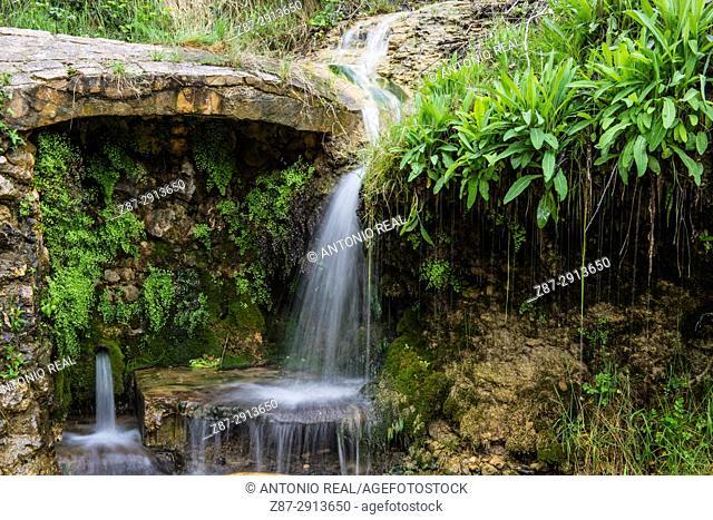 Waterfall. Paraje de la Mearrera. Almansa. Albacete. Spain
