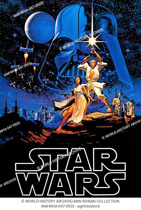 Film poster for George Lucas film 'Star Wars' an American epic space/science fiction film series created by George Lucas