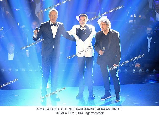 Claudio Baglioni, Fabio Rovazzi, Fausto Leali at the 69th Sanremo Music Festival, Sanremo, ITALY-07-02-2019