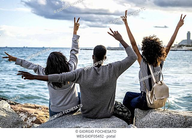 Three friends sitting on the beach, lookin at the sea, cheering, rear view