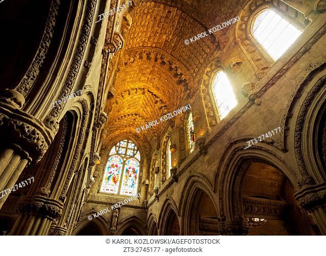 UK, Scotland, Midothian, Edinburgh Area, Roslin, interior view of the Rosslyn Chapel.