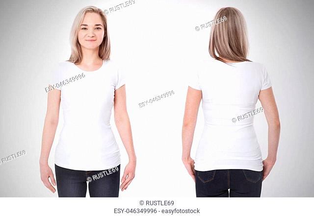 t-shirt design and people concept - close up of young woman in blank white t-shirt, shirt front and rear isolated