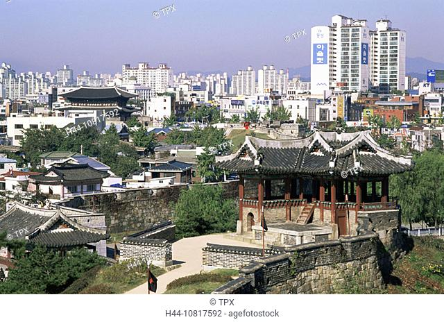 Asia, Korea, South Korea, Seoul, Suwon, Hwaseong Fortress, Fortress Wall, City Skyline, Joseon Dynasty, UNESCO, World