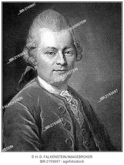 Historical illustration from the 19th century, portrait of Gotthold Ephraim Lessing, 1729 - 1781, a poet of the German Enlightenment