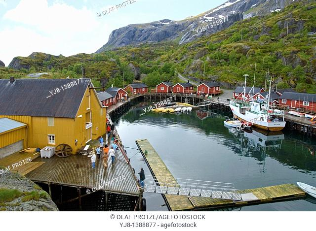 Small fishing village of Nusfjord at the Lofoten Island of Flagstadoya that belong to Norway  Nusfjord in the borough of Flakstad is well-known for its idyllic...