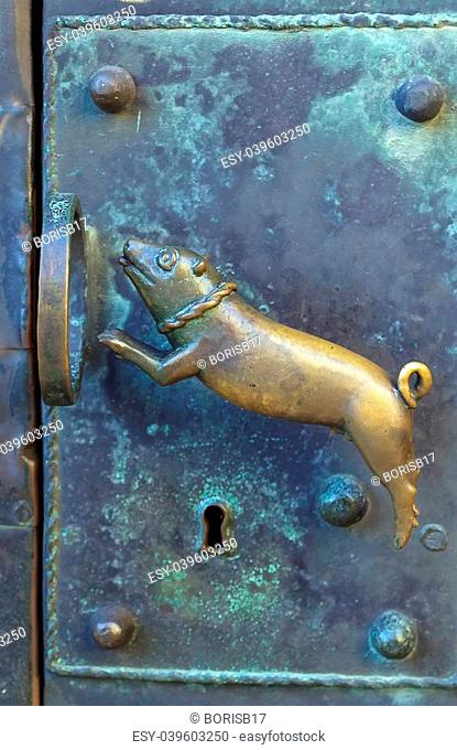 the door handle in a cathedral st. Servatius, Quedlinburg, Germany