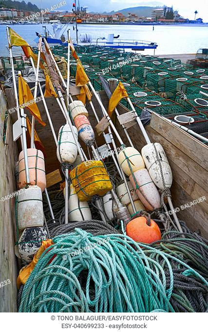 Ribadesella Asturias fishing tacke in port at Spain
