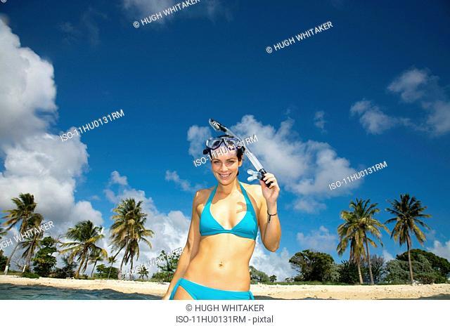 Women with Snorkel on Beach