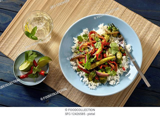 Stir fired green vegetable curry on rice