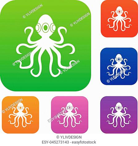 Octopus set icon color in flat style isolated on white. Collection sings vector illustration