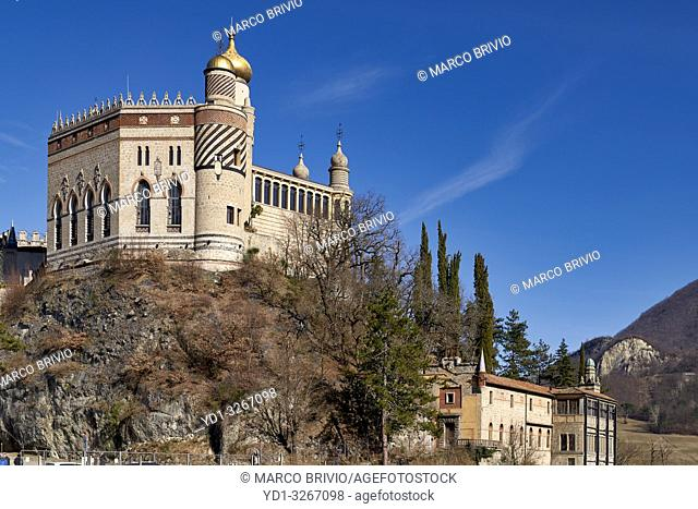 Bologna, Italy. Rocchetta Mattei is a fortress located in the northern Apennines, on a hill 407 meters above sea level, in the municipality of Grizzana Morandi...