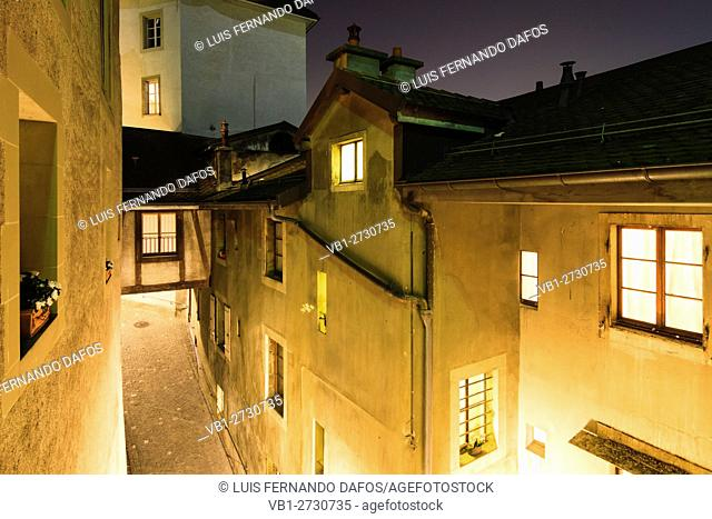 Narrow alley and passageway at night. Vieille Ville (Old Town) Geneva, Switzerland