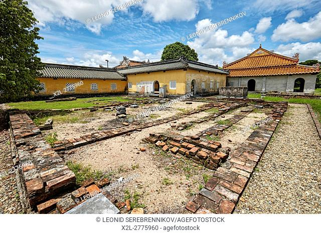 Remains of a destroyed building at the Dien Tho Residence. Imperial City, Hue, Vietnam