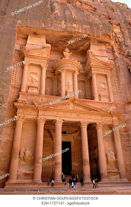 Al Khazneh or The Treasury, one of the most elaborate buildings of the ancient city of Petra, Jordan, Middle East, Asia