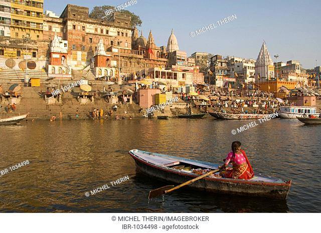 Ghats along the Ganges river, Varanasi, Benares, Uttar Pradesh, India, South Asia