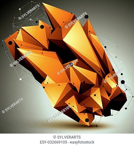 Complicated abstract golden 3D shape, vector digital lattice object. Technology theme